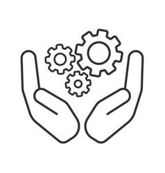 Open palms with cogwheels linear icon vector