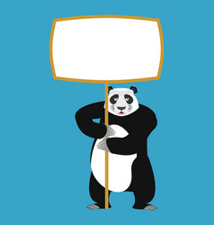 panda holding banner blank chinese bear and white vector image