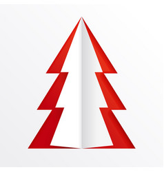 paper cut design christmas tree on a red backdrop vector image