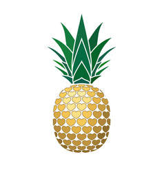 pineapple golden with hearts tropical gold exotic vector image