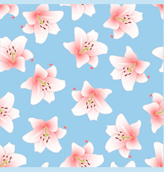 Pink lily on light blue background vector