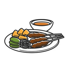 plate with snack and bowl of sauce isolated vector image