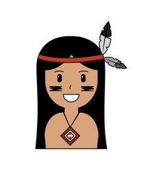 portrait aboriginal native american with feathers vector image vector image