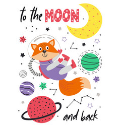 Poster with fox in space on white background vector