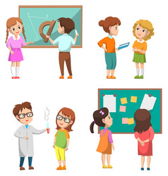 Pupils on geometry and chemistry lesson at school vector