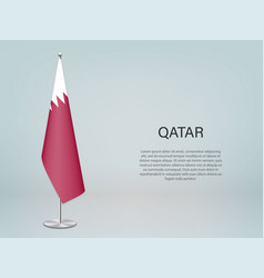 Qatar hanging flag on stand template vector