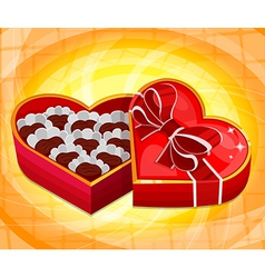 Red heart candy box vector