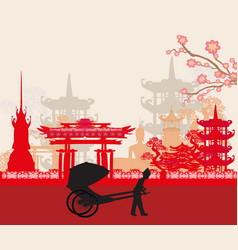 Rickshaw and asian landscape vector
