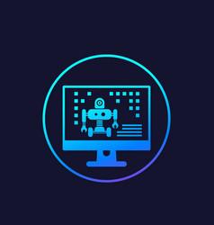 Robotics robot programming icon vector