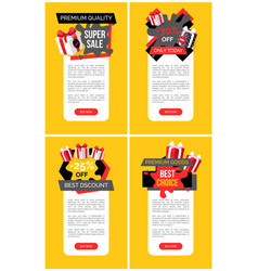 Sale labels and goods exclusive offer site vector