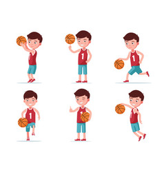 set boy basketball player playing with a ball vector image