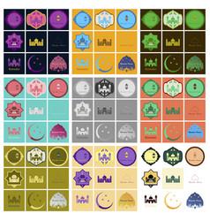 Set icons in flat style ramadan vector