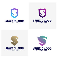 set initial s shield logo design concepts s vector image