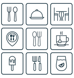 Set of 9 restaurant icons includes eating house vector