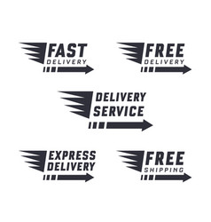 set of delivery text signs and label vector image
