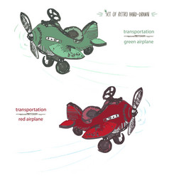 Set of hand-drawn red and green airplane ink vector