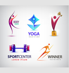set of sport logos man runner gym yoga vector image vector image