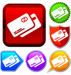 Set shiny icon series on buttons credit card vector