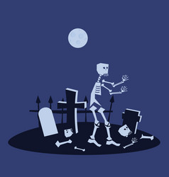 skeleton in the cemetery holiday halloween vector image