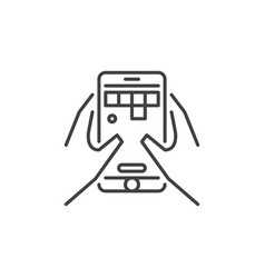 smartphone with game in hands outline icon vector image