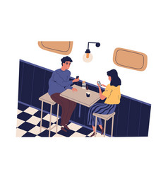 smiling man and woman use smartphone sitting at vector image