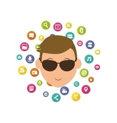 Social media male with sunglasses cartoon vector image