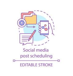 Social media post scheduling concept icon social vector