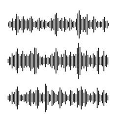 Sound waves set audio equalizer on white vector