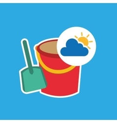 summer vacation design shovel bucket toy vector image