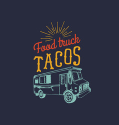 Tacoshot and tasty logo vintage mexican vector