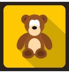 Teddy bear icon flat style vector image