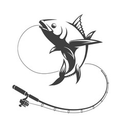 Tuna fish and fishing rod vector
