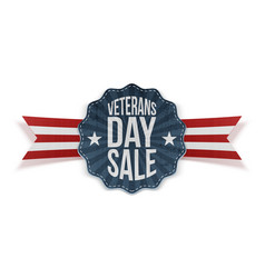 Veterans day sale blue sign with ribbon vector