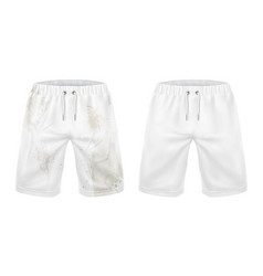 White shorts before and after washing dirt removal vector