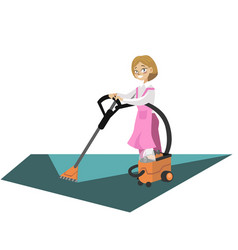 woman washing floor with vacuum cleaner poster vector image