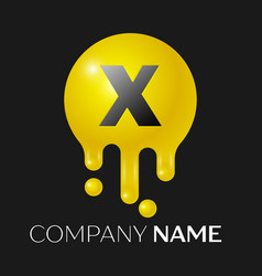 x letter splash logo yellow dots and bubbles vector image