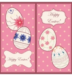 Backgrounds set with easter eggs vector