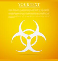 biohazard symbol flat icon on yellow background vector image vector image