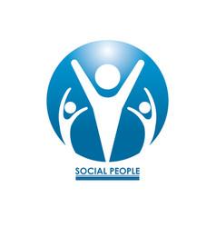 blue color circular frame teamwork social people vector image