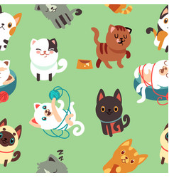 cartoon cats kitten seamless background vector image vector image