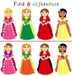 Difference game with princesses vector image