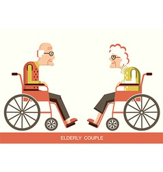 Elderly peoplePensioners in a wheelchairs vector image