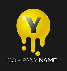 Y letter splash logo yellow dots and bubbles vector