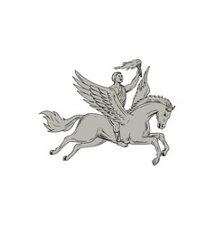 bellerophon riding pegasus holding torch drawing vector image