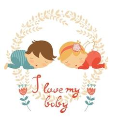 Cute baby card vector image vector image