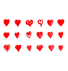 red grunge hearts vector image