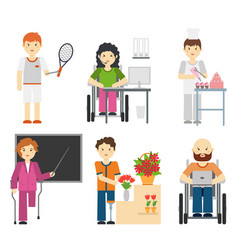 disability young workers isolated on white vector image vector image