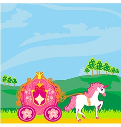 Fine horsy harnessed in the carriage of the vector image