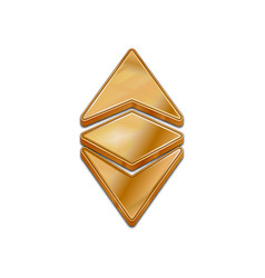 Golden ethereum classic 3d style icon vector