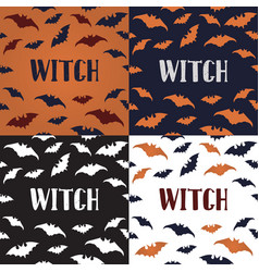 halloween posters with seamless pattern bats vector image
